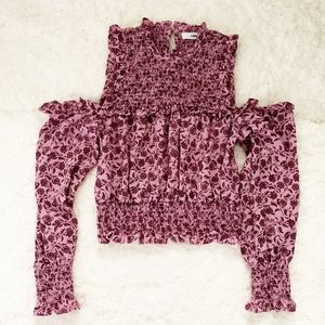 Likely Paisley Smocked Cold-shoulder Top